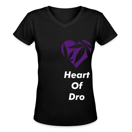 Heart of Dro Black/Purple V - Women's V-Neck T-Shirt