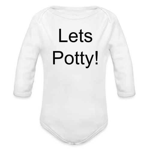 lets potty!!!! - Organic Long Sleeve Baby Bodysuit