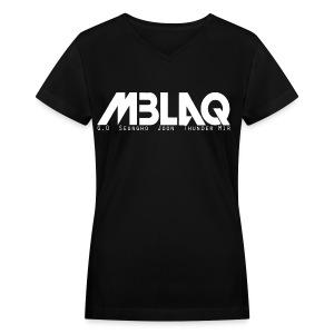 MBLAQ Member's Names in White Women's V-Neck - Women's V-Neck T-Shirt
