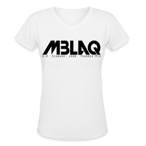 MBLAQ Member's Names in Black Women's V-Neck - Women's V-Neck T-Shirt