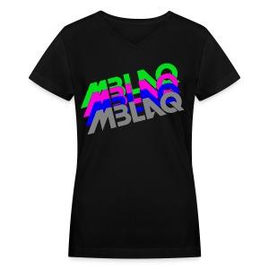 MBLAQ Multicolored Logo Women's V-Neck - Women's V-Neck T-Shirt