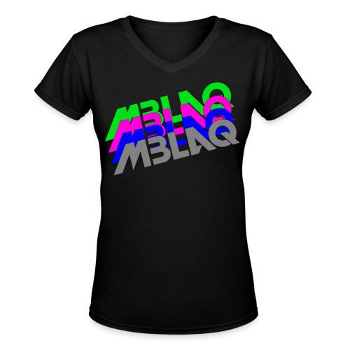 MBLAQ Multicolored Logo Women's V-Neck - Women's V-Neck T-Shirt