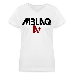 MBLAQ A+ in Black/Red Women's V-Neck - Women's V-Neck T-Shirt