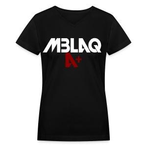 MBLAQ A+ in White/Red Women's V-Neck - Women's V-Neck T-Shirt
