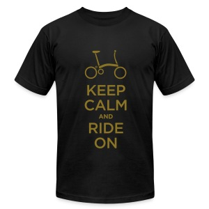Keep Calm and Ride a Brompton (Metalic Gold)  American Apparel T Shirt - Men's T-Shirt by American Apparel