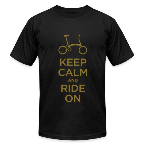 Keep Calm and Ride a Brompton (Metalic Gold)  American Apparel T Shirt - Men's  Jersey T-Shirt