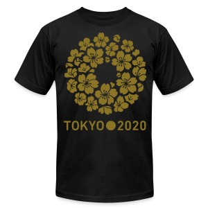 Tokyo 2020 Sakura (Metalic Gold)  American Apparel T Shirt - Men's T-Shirt by American Apparel