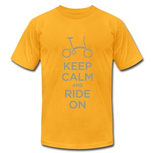Keep Calm and Ride a Brompton (Metalic Silver)  American Apparel T Shirt - Men's T-Shirt by American Apparel