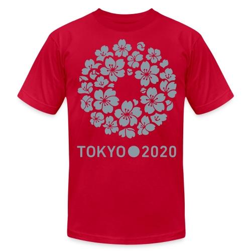 Tokyo 2020 Sakura (Metalic Silver)  American Apparel T Shirt - Men's Fine Jersey T-Shirt
