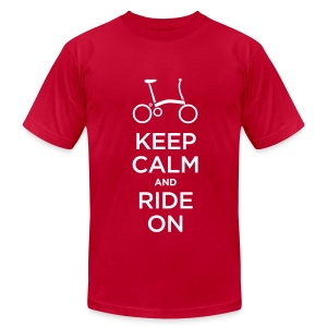 Keep Calm and Ride a Brompton (White)  American Apparel T Shirt - Men's T-Shirt by American Apparel