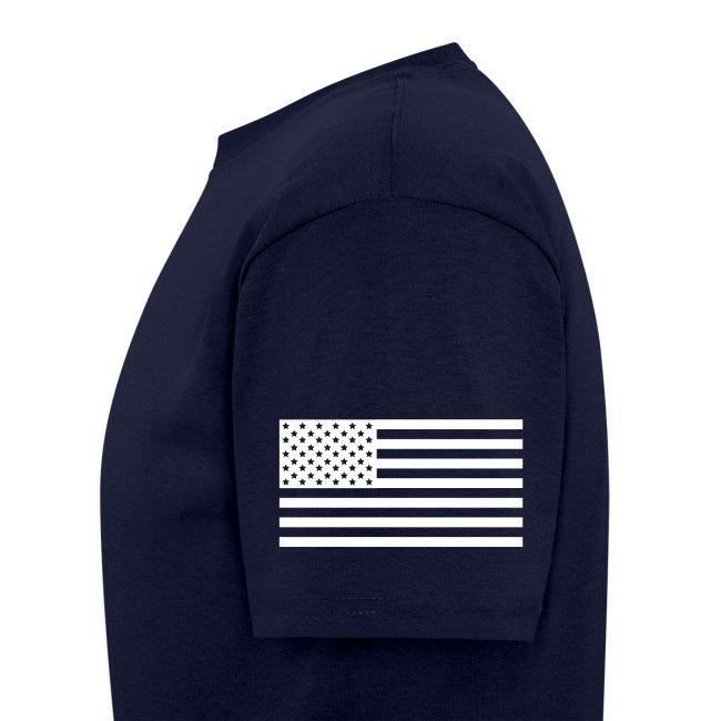 USS KITTY HAWK CVA-63 STRIPE TEE w/ USA FLAG SLEEVE PRINT