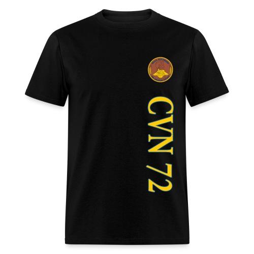 USS ABRAHAM LINCOLN CVN-72 STRIPE TEE w/ USA FLAG SLEEVE PRINT - Men's T-Shirt