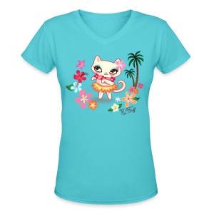 Hula Kitty - Women's V-Neck T-Shirt