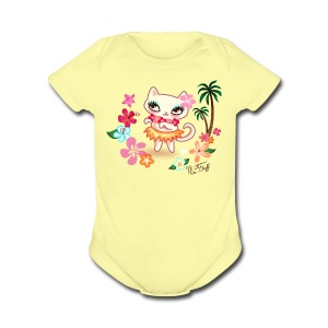 Hula Kitty - Short Sleeve Baby Bodysuit