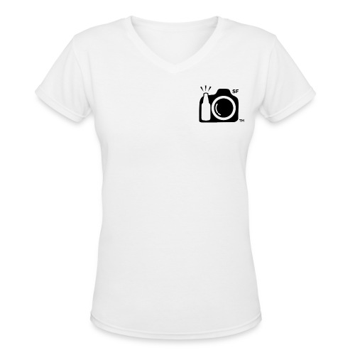 Women's V-Neck T-Shirt Small Black Logo SF initials Drink and Click ™ SF on Back - Women's V-Neck T-Shirt