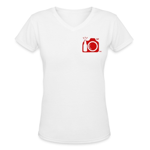 Women's V-Neck T-Shirt Small Red Logo SF initials.  - Women's V-Neck T-Shirt