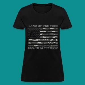 Land of The Free Camo American Flag - Women's T-Shirt