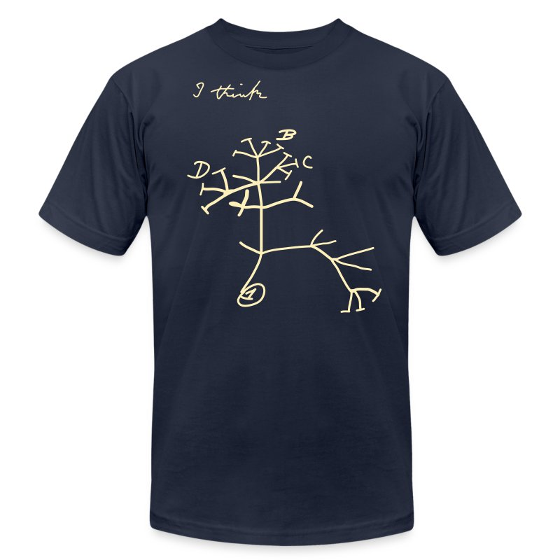 YellowIbis.com 'Evolution' Men's / Unisex American Apparel T-Shirt: Darwin's Evolutionary Tree (Color choice) - Men's T-Shirt by American Apparel