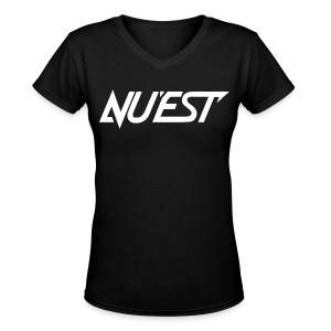NU'EST Logo in White Women's V-Neck  - Women's V-Neck T-Shirt