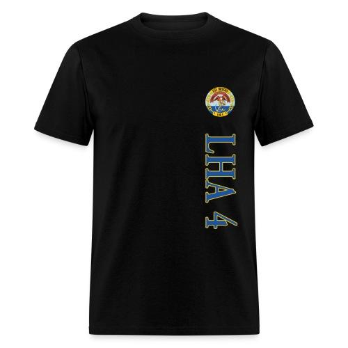 USS NASSAU LHA-4 STRIPE TEE w/ USA FLAG SLEEVE PRINT - Men's T-Shirt