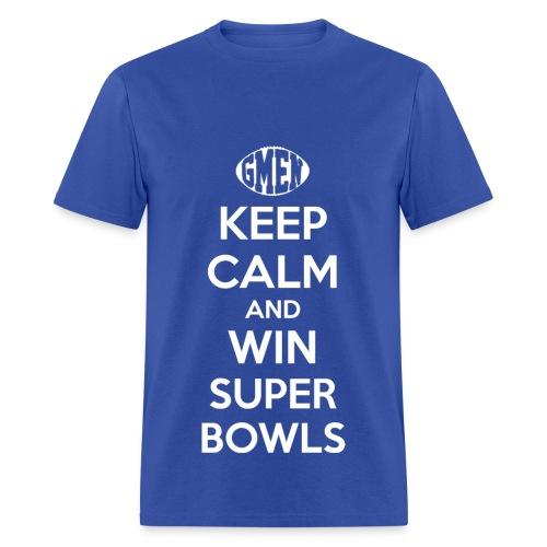 GMEN Keep Calm and WIn Super Bowls (NY Giants Football) - Men's T-Shirt