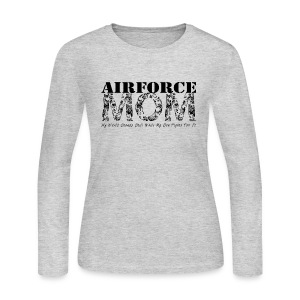 Air Force Mom MY WORLD STANDS STILL WHILE MY SON FIGHTS FOR IT - Women's Long Sleeve Jersey T-Shirt