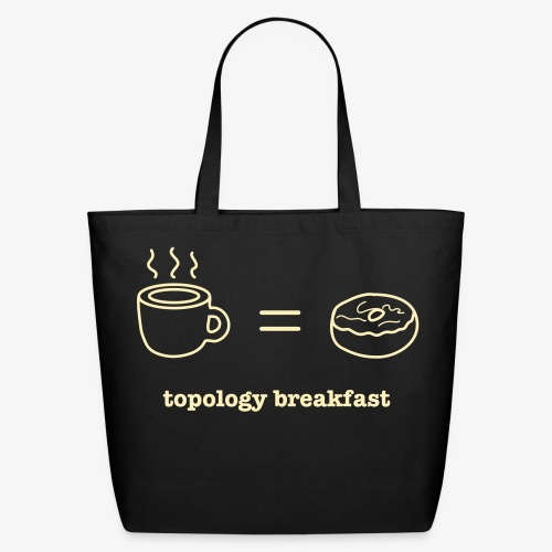 YellowIbis.com 'Mathematics One Liners' Eco Cotton Tote Bag: Topology Breakfast (Black) - Eco-Friendly Cotton Tote