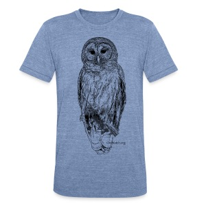 Barred Owl - 8630_stroked - Unisex Tri-Blend T-Shirt by American Apparel