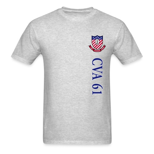 USS RANGER CVA-61 STRIPE TEE w/ USA FLAG SLEEVE PRINT - Men's T-Shirt