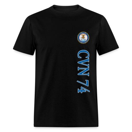 USS JOHN C STENNIS CVN-74 STRIPE TEE w/ USA FLAG SLEEVE PRINT - Men's T-Shirt