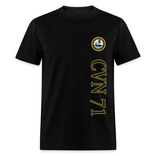 USS THEODORE ROOSEVELT CVN-71 STRIPE TEE w/ USA FLAG SLEEVE PRINT - Men's T-Shirt