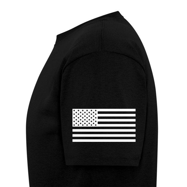 USS THEODORE ROOSEVELT CVN-71 STRIPE TEE w/ USA FLAG SLEEVE PRINT