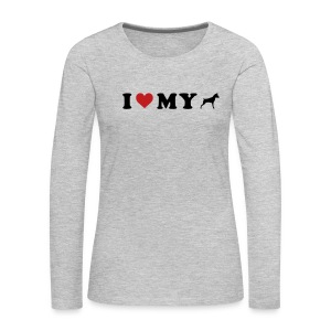 I Heart My Min Pin - Women's Premium Long Sleeve T-Shirt