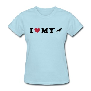 I Heart My Min Pin - Women's T-Shirt