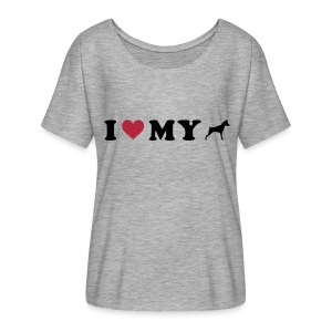 I Heart My Min Pin - Women's Flowy T-Shirt