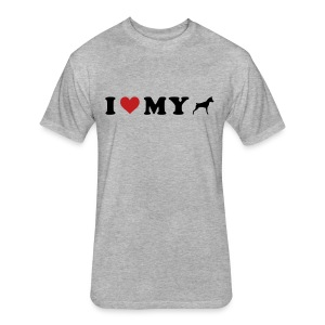 I Heart My Min Pin - Fitted Cotton/Poly T-Shirt by Next Level