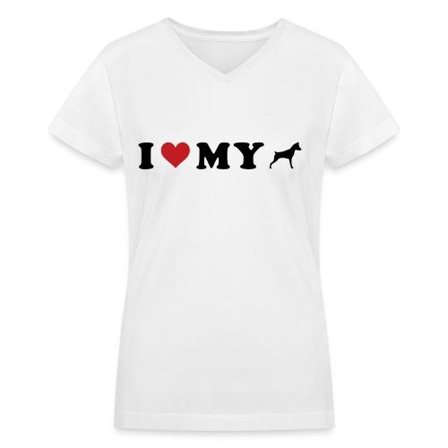 I Heart My Min Pin - Women's V-Neck T-Shirt