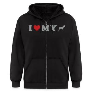 I Heart My Min Pin - Men's Zip Hoodie