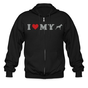 I Heart My Min Pin - Men's Zip Hoodie