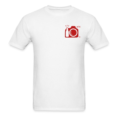 Men's Standard Weight T-Shirt ATX Initials on RED Logo FRONT AND BACK - Men's T-Shirt