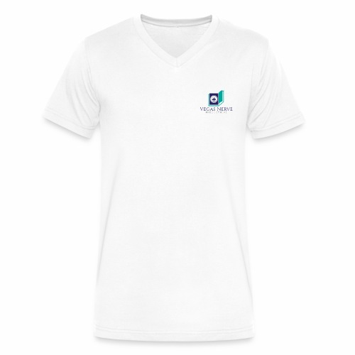 Men's V-Neck T-Shirt By Canvas with Spiritual Vegas Nerve Productions Logo - Men's V-Neck T-Shirt by Canvas