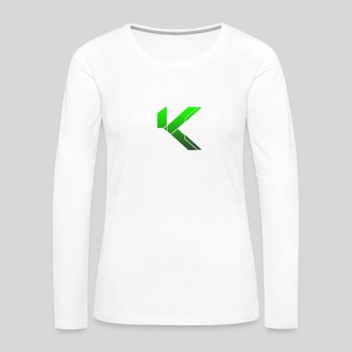 KingSleeve White/Green FeMale Edition - Women's Premium Long Sleeve T-Shirt