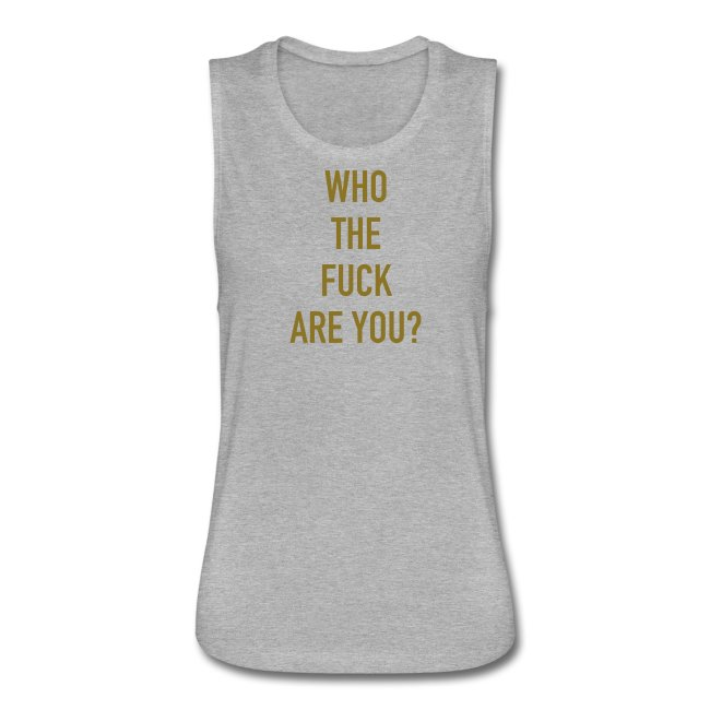 Women's Gold Vinyl WTFRU Muscle Tee