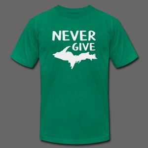 Never Give U.P.  - Men's T-Shirt by American Apparel