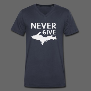 Never Give U.P.  - Men's V-Neck T-Shirt by Canvas