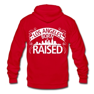 Los Angeles Born And Raised - Unisex Fleece Zip Hoodie by American Apparel