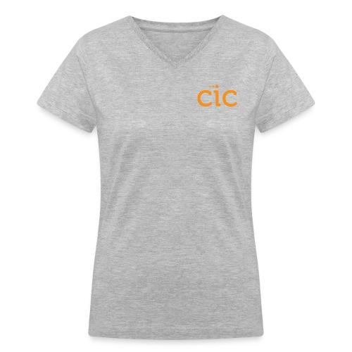 Women's V-Neck T-Shirt, Light Grey/CIC Orange - Women's V-Neck T-Shirt