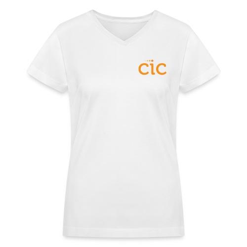 Women's V-Neck T-Shirt, White/CIC Orange - Women's V-Neck T-Shirt