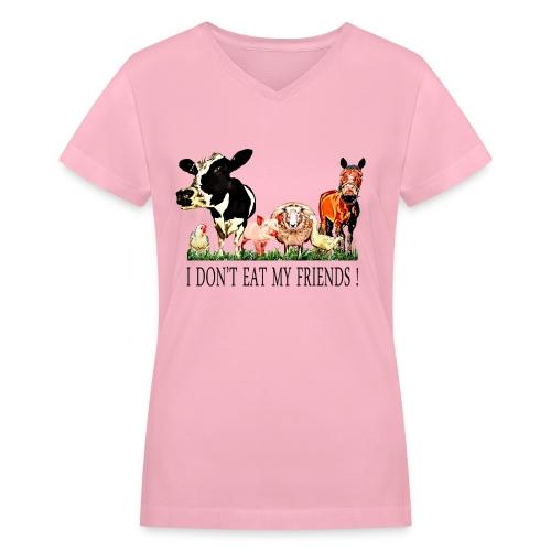 Loving Animals - Women's V-Neck T-Shirt