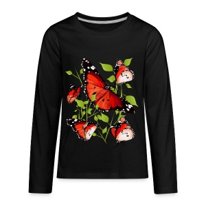 BRIGHT ORANGE BUTTERFLY - Kids' Premium Long Sleeve T-Shirt